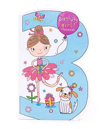 3e Verjaardagskaart - Verjaardagskaart leeftijd 3 - Mooie Ballerina Verjaardagskaart - Verjaardagskaart voor kinderen - Verjaardagscadeaus leeftijd 3 meisjes - Cadeaukaart voor meisjes