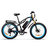 Bicicleta eléctrica M900 1000W Bicicleta de montaña 26 * 4 Pulgadas Bicicletas de neumáticos gordos 9 velocidades Ebikes para Adultos con batería de 17Ah (Azul)