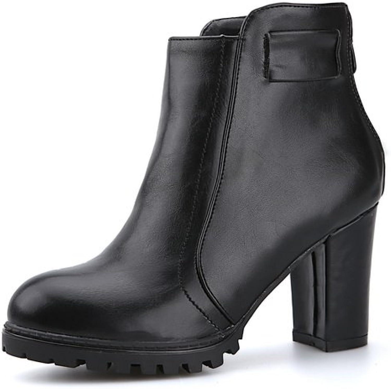 BalaMasa Womens Back Zipper Chunky Heels Platform Imitated Leather Boots