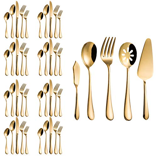 Flatware Set, Magicpro Modern Royal 45-Pieces gold Stainless Steel Flatware