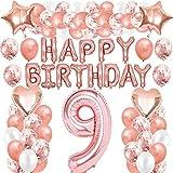iWheat Decoración de cumpleaños de oro rosa con texto en alemán 'Alles Gute zum Geburtstag Nr. 9', globos para niñas, con confeti, lámina de látex