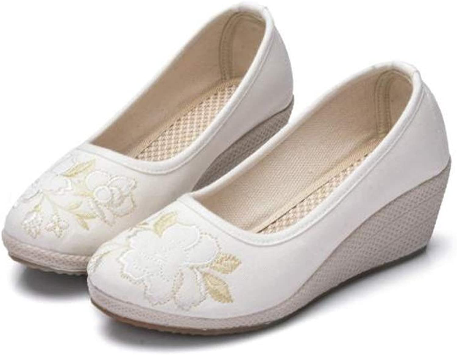 Lian Costume shoes Women's New shoes shoes Wedges Embroidered shoes High-Heeled shoes Embroidered shoes White