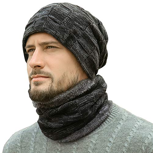Winter Beanie Hats Scarf Set Warm Knit Hats Skull Cap Neck Warmer with Thick Fleece Lined Winter Hat & Scarf for Men Women