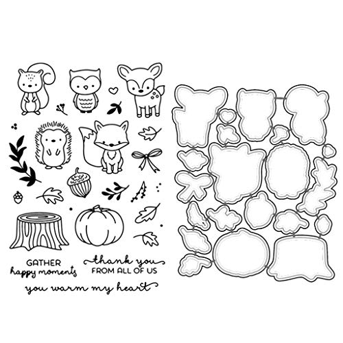 chuwa Cutting Dies Cartoon Animals Metal Stencils and Clear Stamp Set for Card Making Scrapbooking Carbon Steel Wedding Embossing Template DIY Craft Decor Gift