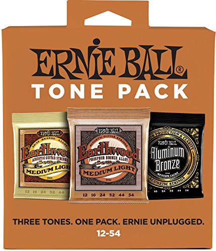 Ernie Ball Medium Light Tone Pack (12-54) Acoustic Guitar Strings (P03313)