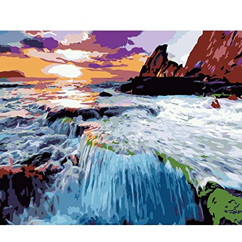 gaoshanliushui Sunset Coast DIY Malerei Digital Canvas Malerei Home Wall Art Bild Malvorlagen für Home Decoration 40Cmx50Cm Frameless