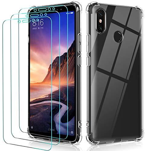 ivoler Funda para Xiaomi Mi MAX 3 + 3 Unidades Cristal Vidrio Templado Protector de Pantalla, Ultra Fina Silicona Transparente TPU Carcasa Airbag Anti-Choque Anti-arañazos Caso