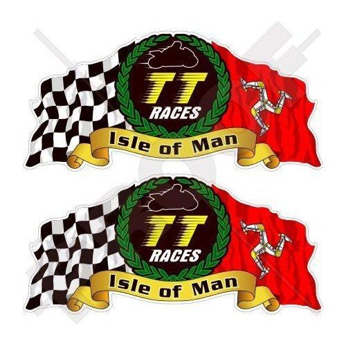 "Fahrradhelm-Aufkleber mit Aufschrift ""Isle of Man TT Races"", Manx, Moto GP Racing, 75 mm, 2 Stück"