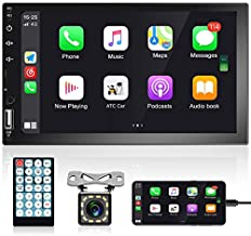 7 Inch Double Din Car Stereo with Carplay HD Capacitive Touchscreen Car Radio Bluetooth FM Radio TF USB Mirror Link Multimedia MP5 Player + Remote Control Backup Camera