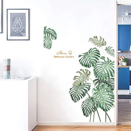 Green Tropical Leaves Wall Decal Nature Palm Tree Leaf Plants Wall Sticker Art Murals for Bedroom Living Room Classroom Offices Home Decoration