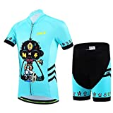 YFCH Maillot de Ciclismo Conjunto de Jersey Manga Corta + Pantalones Cortos Transpirable para Niños Niñas, Azul, M /5-6 años