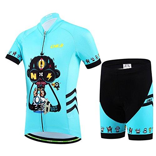 LSHEL Kinder Jungen Radsport Anzüge Atmungsaktive Mädchen Fahrradbekleidung Set Trikot Kurzarm Radhose mit Sitzpolster, Blau, 122/128(Herstellergröße: L)
