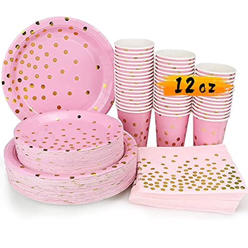 Pink and Gold Party Supplies - 200PCS Disposable Pink Paper Plates Dinnerware Set Gold Dots 50 Dinner Plates 50 Dessert Plates 50 12oz Cups 50 Napkins Wedding Birthday Party Baby Shower Christmas