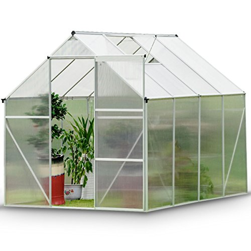 Giantex Walk-In Greenhouse Plant Growing Tent Large Green Garden Hot House with Adjustable Roof Vent, Rain Gutters Heavy Duty Polycarbonate Aluminum Frame (6.2'L x 8.2'D)