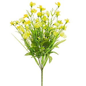 20.5″ Mixed Silk Sweet Pea Flower & Fern Bush -2 Tone Yellow (Pack of 12)
