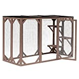 """PawHut 71"""" x 32"""" x 44"""" Large Wooden Outdoor Cat Enclosure Catio Cage with 3 Platforms"""