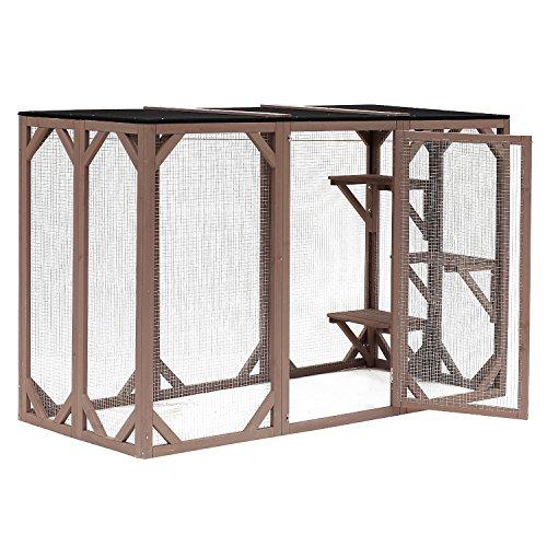 "PawHut 71"" x 32"" x 44"" Large Wooden Outdoor Cat Enclosure Catio Cage"