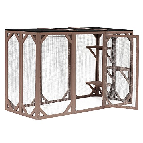 "PawHut 71"" x 32"" x 44"" Large Wooden Outdoor Cat Enclosure Catio Cage with 3 Platforms"