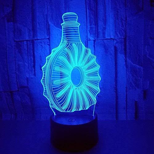 Luces De Ilusión 3D Luz Nocturna Infantil Lámpara Botella De Vino 7 Colores Cambio De Botón Táctil Y Ciclismo Regalo De Cumpleaños Para Decoración De Dormitorio