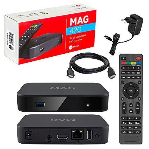 Mag 420 Original Infomir & HB-DIGITAL 4K IPTV Set Top Box Multimedia Player Internet TV IP Receiver # 4K UHD 60FPS 2160p@60 FPS HDMI 2.0# HEVC H.256 Supporto # Arm Cortex-A53 + Cavo HDMI
