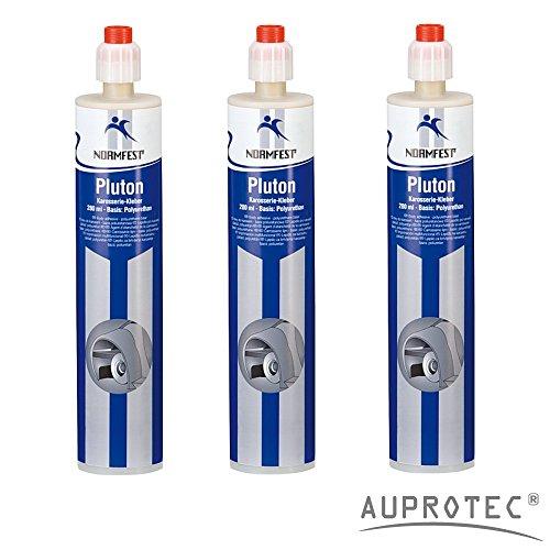 Auprotec® Normfest 2K Karosseriekleber Pluton 2 Komponenten Kleber überlackierbar (3 Kartuschen)