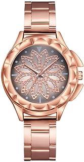 Women Wristwatch, Fashionable Round Dial Quartz Movement Rose Gold Diamante Women Wristwatch