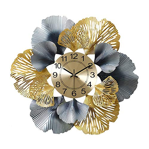 U/K Moderno Cuarzo de Cuarzo Wandu Handmade Hierro Reloj de Pared Ginkgo Hoja, Decoración, Reloj Sala de Estar Arte Reloj de Pared Decoración del hogar Reloj de Pared 23.2 Pulgadas Reloj de Pared