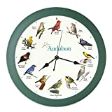 Mark Feldstein & Associates Audubon Singing Bird Wall Clock, 13 Inch