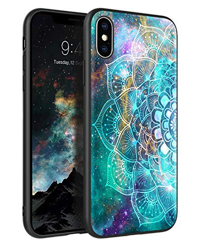 KANGYA iPhone Xs Case, iPhone X Case,Slim Thin Glow in The Dark Hybrid Hard PC Soft Rubber Bumper Drop Protection Shockproof Anti-Scratch Non-Slip Phone Case for 5.8' iPhone 10/XS/X,Mandala in Galaxy