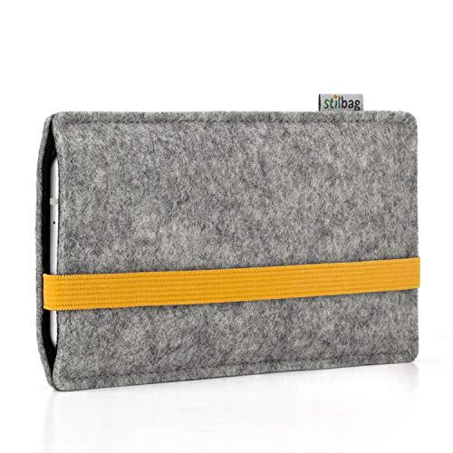 stilbag Handyhülle Leon für Xiaomi MI Mix 3   Farbe: hellgrau/gelb   Smartphone-Tasche aus Filz   Handy Schutzhülle   Handytasche Made in Germany
