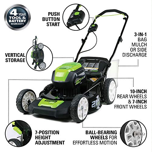 4. Greenworks GLM801601 80V Cordless Push Lawn Mower