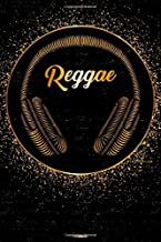 Reggae Notebook: Reggae Golden Headphones Music Journal 6 x 9 inch 120 lined pages gift
