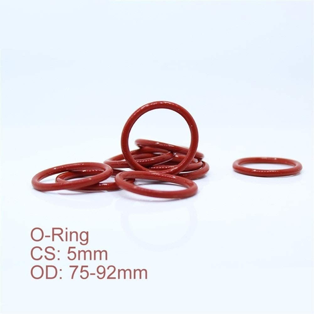 TMP1105 O-Rings CS5mm 30PCS Silicone O Ring OD 75 78 80 82 85 90 92x5mm O-Ring VMQ Gasket Seal Thickness White Red Rubber 5mm ORing Gasket Size : OD80x5mm Red