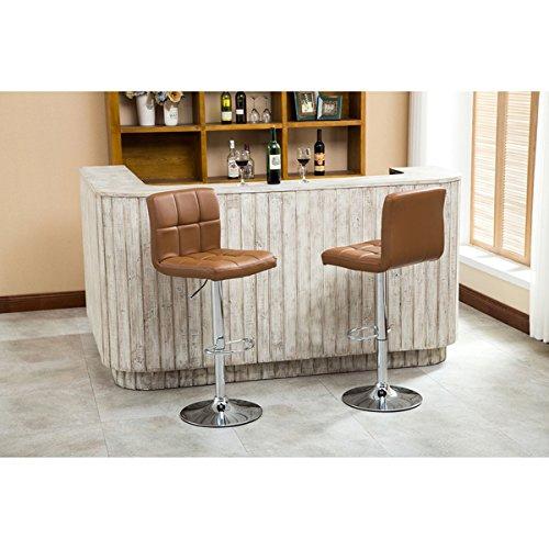 Roundhill Furniture Swivel Leather Adjustable Hydraulic Bar Stool (Set of 2), Caramel