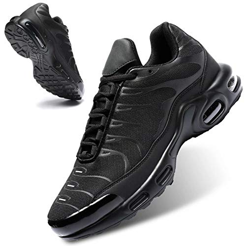 Mevlzz Men's Running Shoes Air Low Top Shoes for Men Basketball Sneakers Fashion Tennis Sport Fitness Cross Trainers All Black 12