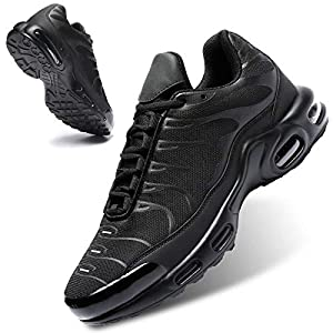 Mevlzz Men's Running Shoes Air Low Top Shoes for Men Basketball Sneakers Fashion Tennis Sport Fitness Cross Trainers All Black 6.5