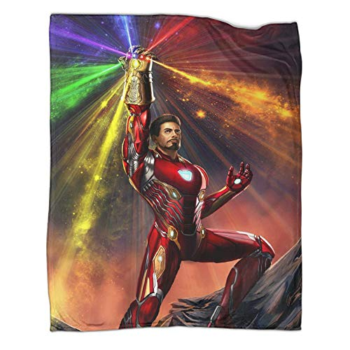 Héroe con estampado de Iron Man Tony Stark, apto para todas las estaciones del año, guantes infinitos, suave manta de microfibra (100 x 130 cm)