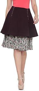 de beau Women's Cotton Lycra Layered Skirt