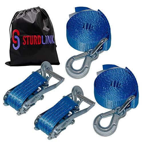 Sturdlink x2 Zurrgurt mit Ratsche und VerschlosshakenBreite 50 mm Länge 4m, LC 2500 kg/5000 kg, STF 350 daN Für Transport, Anhänger, LKW, Profiqualität
