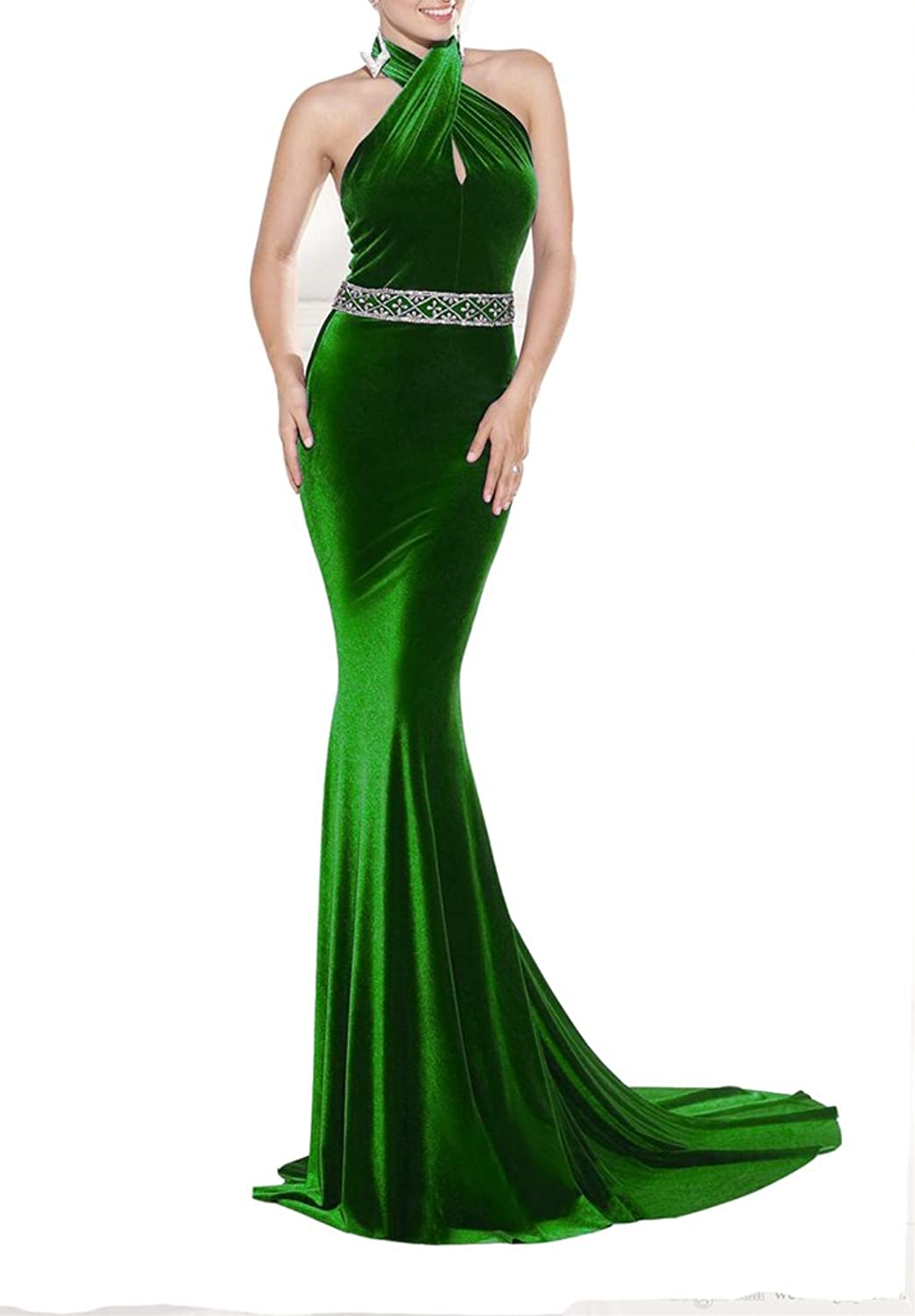 Emmani Women's High Neck Long Beading Backless Mermaid Formal Evening Dresses