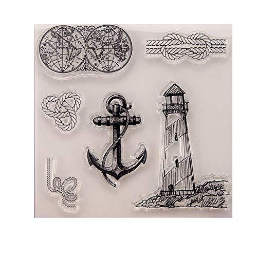 Uteruik Siliconen Stempel Seal Sticker Clear Stamps Natuurlijke Patroon Vuurtoren, Anker, Touw Embossing Sjabloon DIY Craft Scrapbooking Photo Album Decoratie, 1 stks (#G)