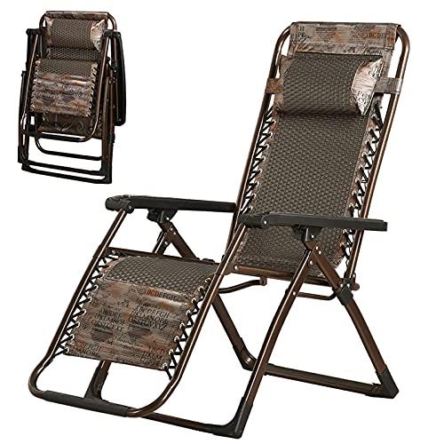 AMAFS Sedie reclinabili Sedia Pieghevole in Rattan da Giardino Sedia a Sdraio in Vimini Sedia a gravità Zero per Spiaggia Patio da Giardino Campeggio all'aperto Festival