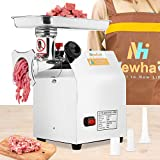 Newhai 1.3HP Commercial Meat Grinder Electric Meat Grinding Machine Heavy Duty Industrial Meat Mincer Sausage Stuffer with Copper Motor Grinding Plates Stuffing Tubes Making Meat Balls for Restaurant Family (950W/1.3HP)