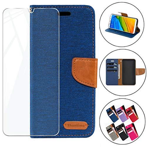 HYMY Denim Hülle für Alcatel 3L 2019 + Schutzfolie Panzerglas Folie - Lederhülle Flip Schutzhülle Card Slot mit Brieftasche Handyhülle Bookstyle Flip Cover Case - Blau