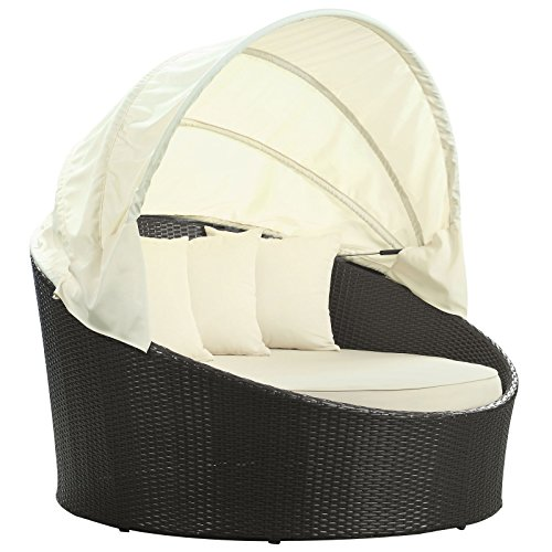 Modway Siesta Outdoor Wicker Patio Canopy Bed in Espresso with White Cushions