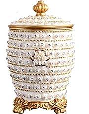 ゴミ箱のおもちゃ 高級高級ゴミ箱収納バケツクリエイティブ樹脂ラウンドゴミ箱付きふたエレガントな室内装飾(6L) 廃棄物容器古紙バスケット