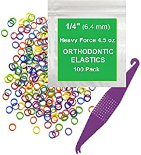 1/4 Inch Orthodontic Elastic Rubber Bands, 100 Pack, Neon, Heavy 4.5 Ounce Small Rubberbands Dreadlocks Hair Braids Fix Tooth Gap, Free Elastic Placer for Braces