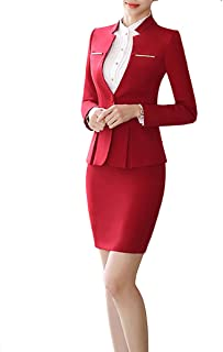 14c54bbb45 Women s 2 Piece Business Dress Skirt Suit Set Office Lady Slim Fit Blazer and  Skirt
