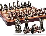 Chess Chess Metal Metal Bronze y de latón Piezas de ajedrez de Madera Maciza Tablero de ajedrez Plegable de Alto Grado Juegos de ajedrez Profesional Conjunto de ajedrez