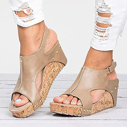 Sandalias Mujer Verano Grueso Sandalias Punta Abierta Cuero Fondo Plano Zapatos Bohemias Romanas Hebilla Zapatillas,b,37